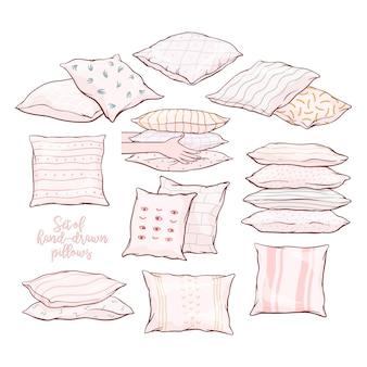 Ensemble d'oreillers - simples, paires, piles, debout, couché, vue de face et latérale avec motifs