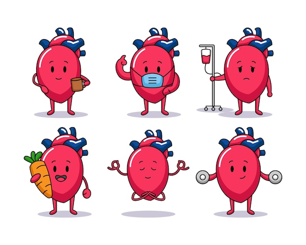 Ensemble d'organe cardiaque mignon avec diverses poses