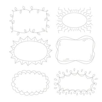 Ensemble d'ornement de cadre doodle dessiné à la main