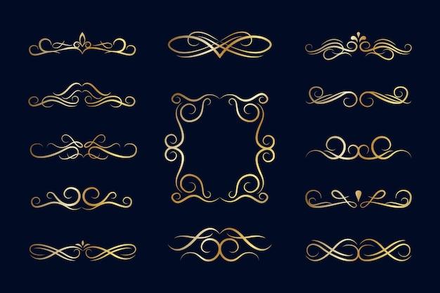 Ensemble d'ornement calligraphique doré
