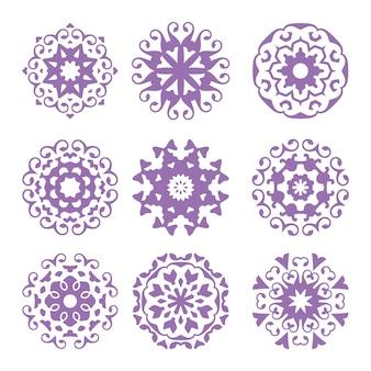 Ensemble d'ornement de cercle, logo abstrait, pack d'art floral, collection