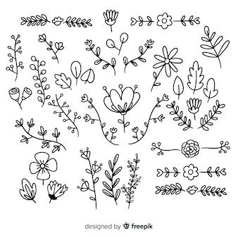 Ensemble d'ornement floral dessiné à la main