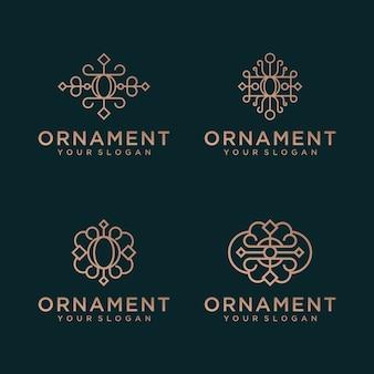 Ensemble d'ornement de luxe floral élégant minimaliste avec style d'art en ligne. les logos peuvent être utilisés pour la beauté, les cosmétiques, le yoga et le spa.