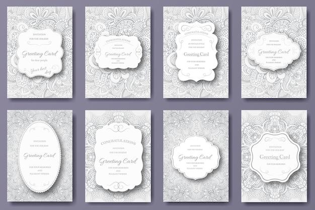 Ensemble d'ornement de pages de flyer carte de mariage