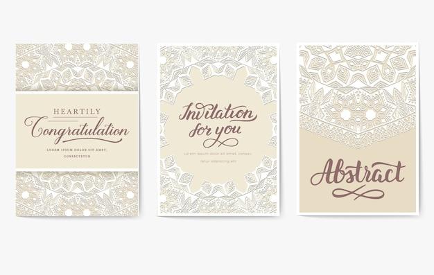 Ensemble d'ornement de pages de flyer mariage blanc. art vintage traditionnel, islam, motifs ottomans, éléments.