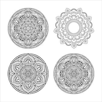 Ensemble d'ornement rond décoratif outline mandala