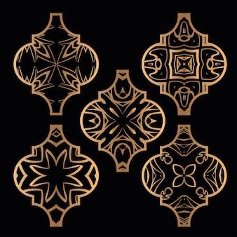 Ensemble d'ornement de tuile arabesque de noël