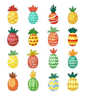 Ensemble d'ornements d'ananas colorés