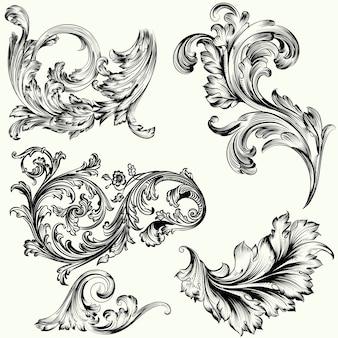 Ensemble d'ornements décoratifs vctor dans un style vintage