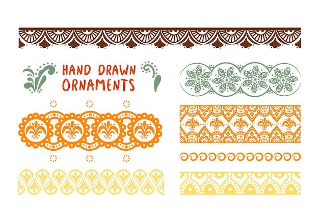 Ensemble d'ornements de dessin à la main motif indien folklorique pour l'élément décoratif asiatique de conception
