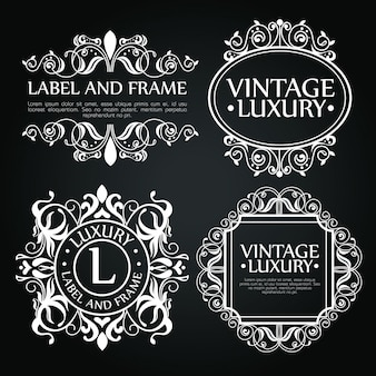 Ensemble d'ornements de luxe pour étiquette, logo ou emblème
