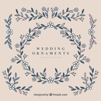 Ensemble d'ornements de mariage dans un style plat