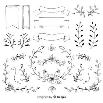 Ensemble d'ornements de mariage décoratifs dessinés à la main