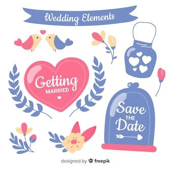Ensemble d'ornements de mariage dessinés à la main