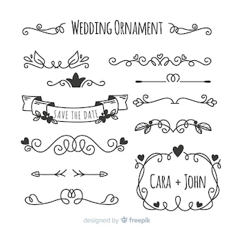 Ensemble d'ornements de mariage dessinés à la main