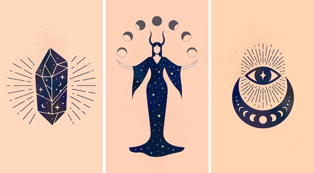 Ensemble d'ornements mystiques noirs représentés sur fond beige comme symboles de magie et d'astrologie