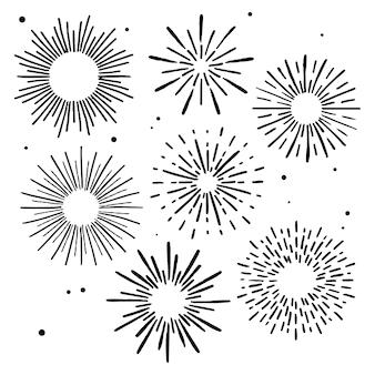 Ensemble d'ornements sunburst dessinés à la main