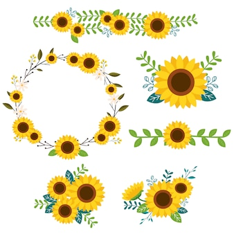 Ensemble d'ornements de tournesols
