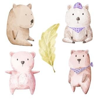 Ensemble d'ours adorable. divers de geste et de couleur d'ours