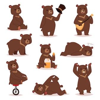 Ensemble d'ours de dessin animé.