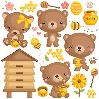 Ensemble d'ours de miel