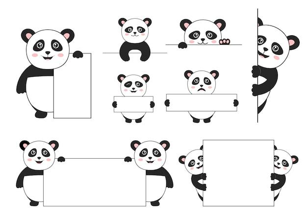 Ensemble d'ours panda isolé