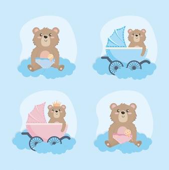 Ensemble d'ours en peluche avec calèche et hochet