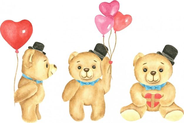 Ensemble d'ours en peluche mignons avec des ballons coeur et présente une illustration aquarelle.