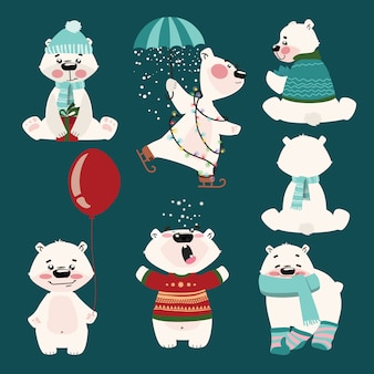 Ensemble d'ours polaires. collection d'ours polaires de dessin animé. illustration de noël pour les enfants.