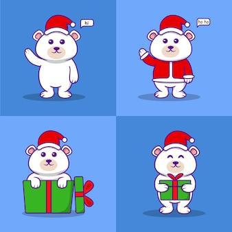Ensemble d'ours polaires de personnage de noël