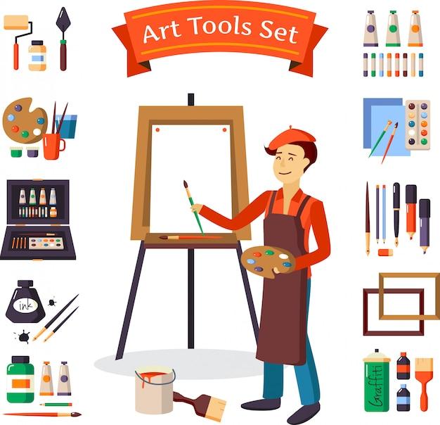 Ensemble d'outils d'artiste et d'artiste