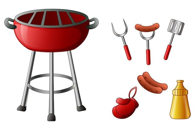 Ensemble d'outils de barbecue isolé sur fond blanc