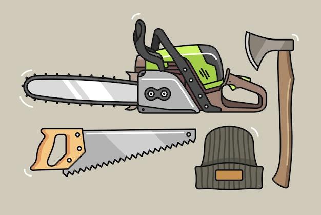 Ensemble d'outils de bûcheron dessinés à la main