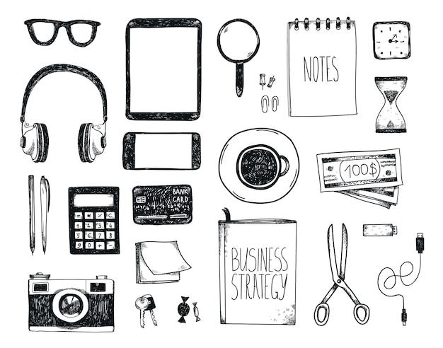Ensemble d'outils de bureau dessinés à la main. freelance, outils pour faire des affaires en ligne, entrepreneur.