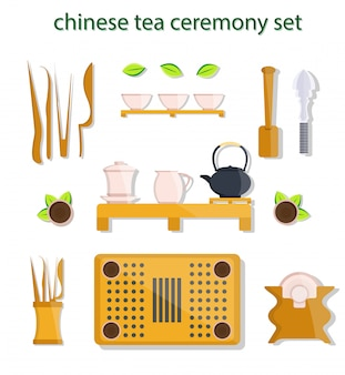 Ensemble d'outils de cérémonie du thé chinois, japonais, vietnamien, oriental et asiatique. kung fu cha, gong fu tea, gong fu ch. icônes d'illustration de style plat moderne.