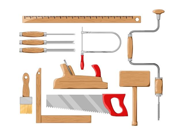 Ensemble d'outils de charpentier. illustration.