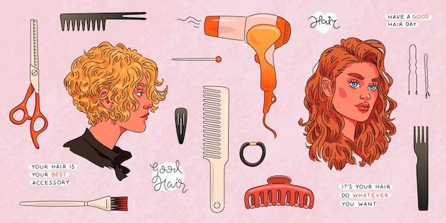 Ensemble d'outils de coiffeur et portraits de femme de beauté avec des variations de coiffure