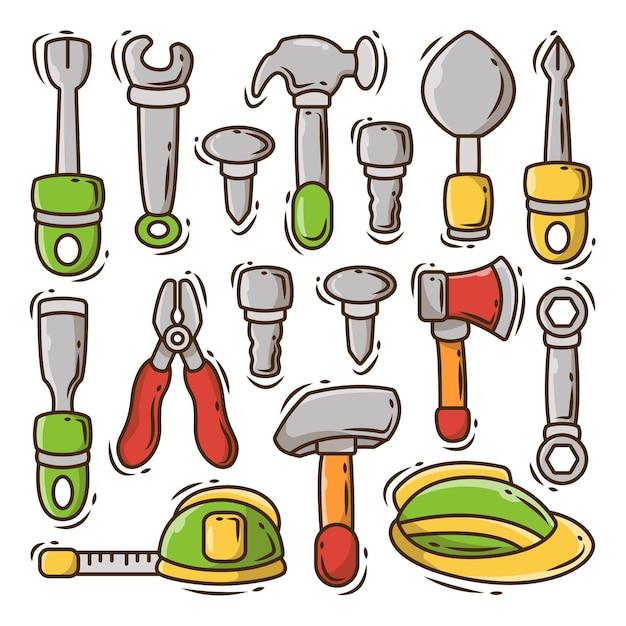 Ensemble d'outils de construction dessinés à la main, dessin animé doodle bundle