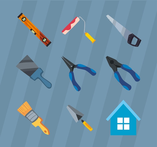 Ensemble d'outils de construction et de travail d'icônes