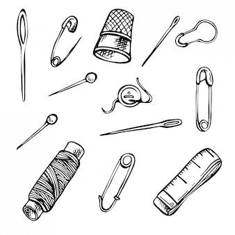 Ensemble d'outils de couture de croquis. ensemble d'illustrations d'encre dessinés à la main.