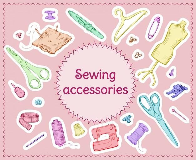 Ensemble d'outils de couture d'esquisse colorée
