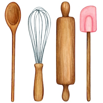 Ensemble d'outils de cuisine aquarelle ustensiles en bois