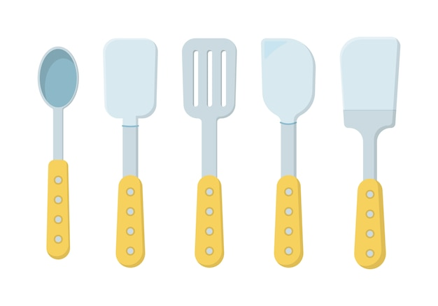 Ensemble d'outils de cuisine isolé sur fond blanc. icônes dans un style plat. beaucoup d'outils de cuisine en bois, ustensiles, couverts. collection d'ustensiles de cuisine.