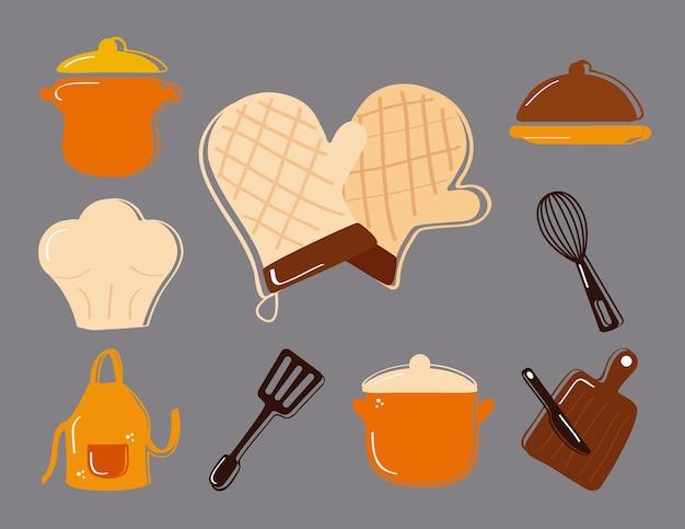 Ensemble d'outils de cuisine mis en icônes