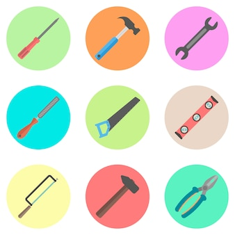 Ensemble d'outils dans les cercles colorés