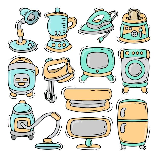 Ensemble d'outils électroniques doodle caricature dessinée à la main