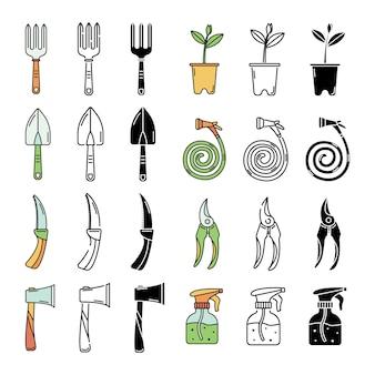 L'ensemble avec des outils de jardin. dessin au trait et style simple.