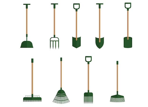 Un ensemble d'outils de jardin de plusieurs pelles et différents râteaux. illustration vectorielle