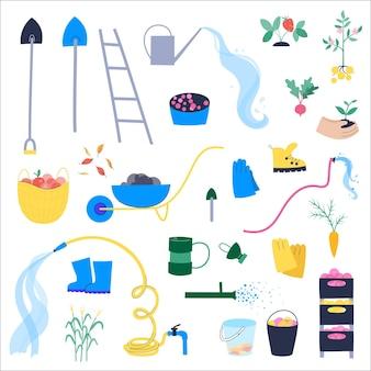 Un ensemble d'outils de jardin qui sont utilisés pendant la récolte. pommes, baies et légumes.