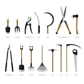 Ensemble d'outils de jardinage. un ensemble d'outils et d'équipements de jardinage.